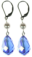 Rare Vintage Swarovski Sapphire with Swarovski Pearl Hannukkah Earrings