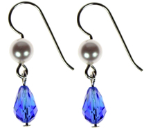 Swarovski Sapphire with Pearl Earrings
