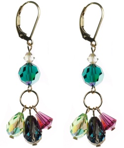 triple drop earrings all swarovski crystal Karen Curtis