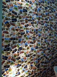 Close up of post card wall! Love it!