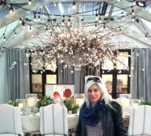 That's me if front of this chandelier bursting with Cherry Blossoms!
