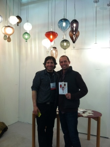 My Hubby and our friend Moshe Bursuker in his lighting exhibit.