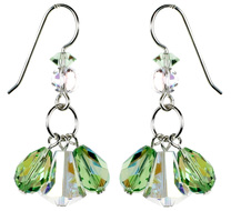 $125 Triple Drop Earrings -Peridot & Clear AB
